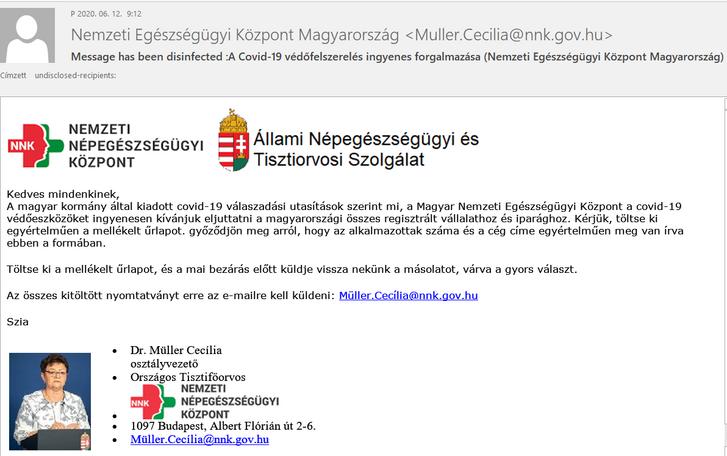 Olvasónk, Kulcsár Zoltán adatvédelmi jogász képernyőmentése az adathalász emailről