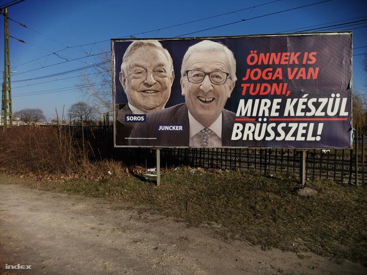 A magyar kormány Soros Györgyöt és Jean-Claude Junckert ábrázoló plakátkampánya 2019-ben