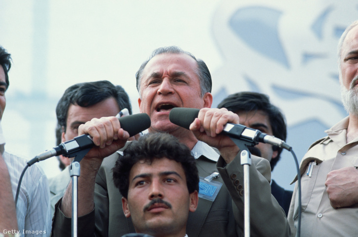Caption:Ion Iliescu speaks to a crowd of supporters at an election rally shortly before Romania's first post-Ceausescu elections in May 1990. Iliescu head of the National Salvation Front (a new incarnation of the Romanian Communist Party) took charge of the provisional national government following Ceausescu's execution in December 1989.   (Photo by Peter Turnley/Corbis/VCG via Getty Images)
