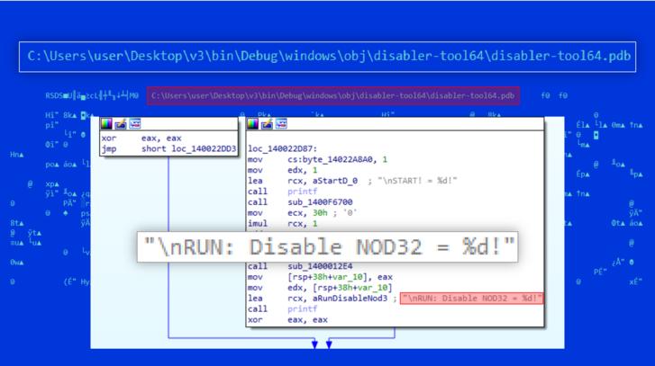 A támadó kódban talált parancs az ESET antivírusának kikapcsolására.