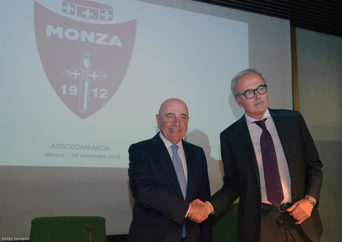 Adriano Galliani és Nicola Colombo a Monza elnöke egy közös sajtótájékoztatón, 2018. szeptember 28-án.
