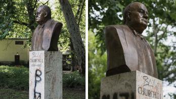 Nyomoz a rendőrség a megrongált budapesti Churchill-szobor ügyében