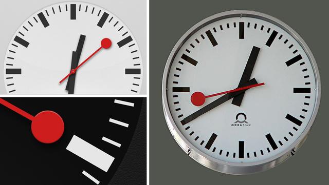 Balra az új óra az iOS 6-ból, jobbra Hans Hilfiker svájci tervező órája
