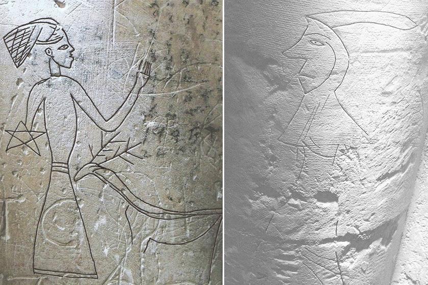 A bal graffitit egy suffolki Troston templom fala őrizte meg. A jól kivehető, pillangófejdíszt viselő asszony mellett egy szarvas áll. Középkori viseletet őriz ez a másik, Swannington templomban lelt graffiti is: hosszú köpenyes, csuklyás férfit ábrázol.