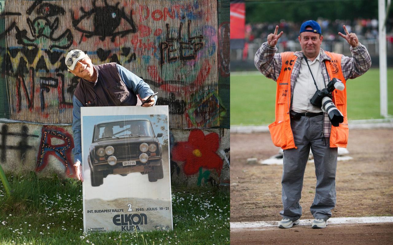 """Fotóink egy része Csikós Gábortól (balra) származik, aki épp egy olyan plakátot tart, amelynek a fotója Csikós Gábortól származik: az 1985-ös Budapest Ralié. A fotók másik jelentős része Kollár """"Sportfotó"""" Attila munkája, ő még ma is aktívan fotózza az autósport szinte minden ágát. Köszönjük a fáradozásaikat az analóg fotók keresgélésében és digitalizálásában"""