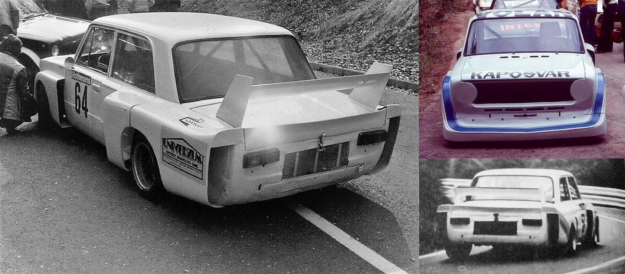 A kocsi hátulján látszik, hogy a talán leglátványosabb magyar Lada versenyautó kisipari módszerekkel készült, kicsit a 02-es BMW-k ihlették Nem is ez volt a legerősebb Lada, viszont a szuper tehetségnek tartott Hideg János kezében így is tudott nyerni a hegyiversenyeken