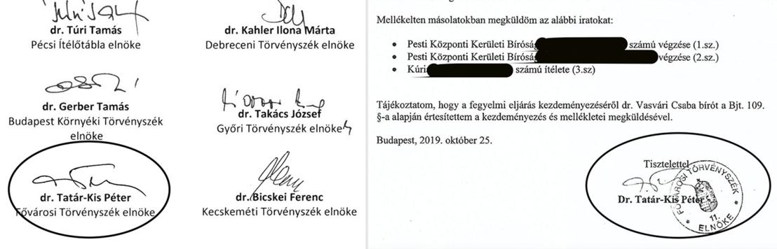 Tatár-Kis Péter aláírása a Handó tündének címzett levélen, és a Vasvári Csaba bíró ellen kezdeményezett fegyelmi kérvényen