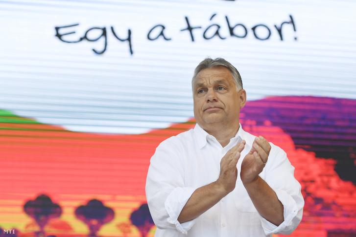 Orbán Viktor a 30. Bálványosi Nyári Szabadegyetem és Diáktáborban (Tusványos) az erdélyi Tusnádfürdőn 2019. július 27-én.