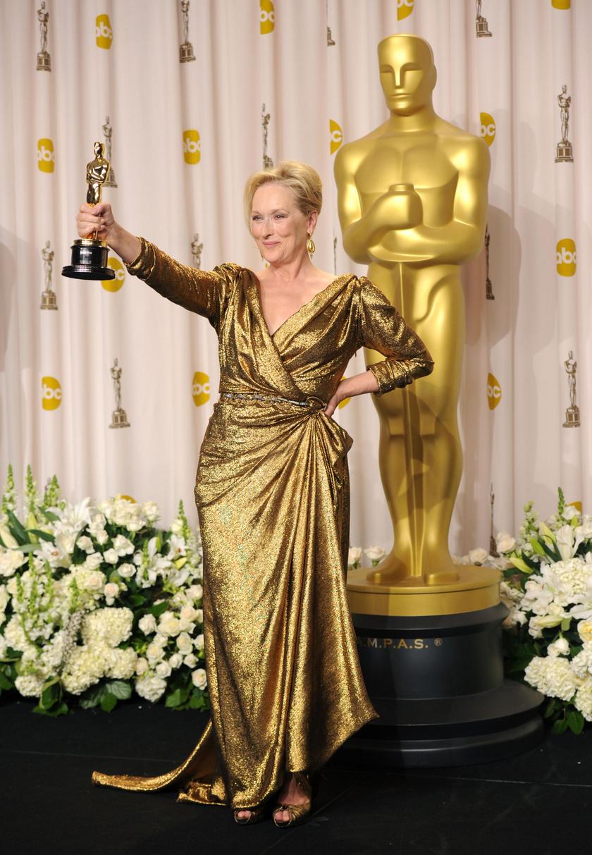 2012-ben bearanyozta a 84. Oscar-gálát, csillogó Lanvin ruhában vette át a legjobb női főszereplőnek járó díjat A Vasladyért.