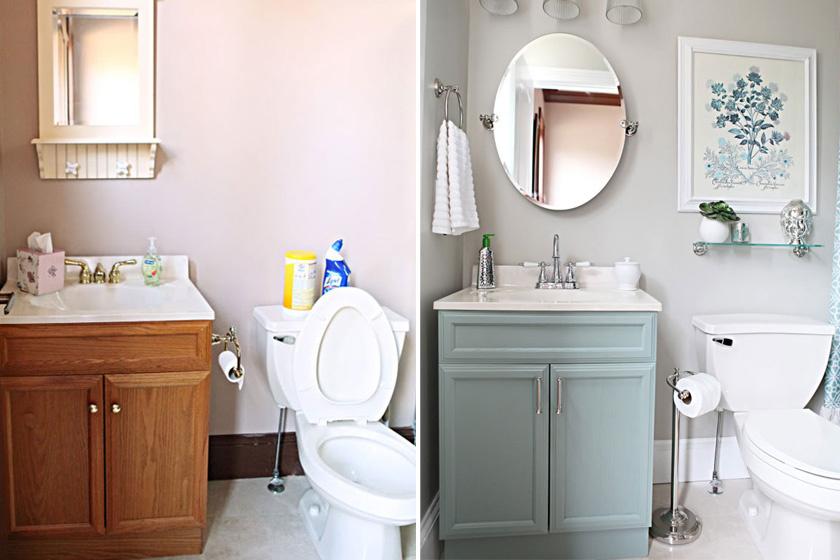 Egy felújítás, ami bizonyítja, hogy a színeknek milyen fontos szerepe van: a fáradt bézs és unalmas barna helyére frissítő zöld szín került. A fapolcot üvegre, a tükröt nagyobbra cserélték, ami ugyancsak emelte a helyiség frissességét. A kedves festmény, mely a fürdő színeit gyűjti egybe, trendibbé tette a teret.