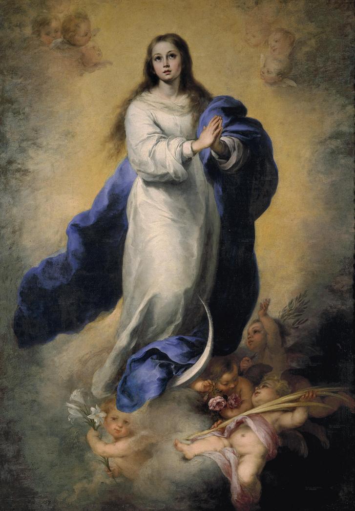 Murillo Szűz Máriája (avagy a Szeplőtelen fogantatás, La Immaculada del Escorial című festmény) a Madridi Nemzeti Múzeum képtárában, a Pradóban. A műgyűjtőnél ennek a képnek egy másolata volt, az esett át a kontár restauráláson.