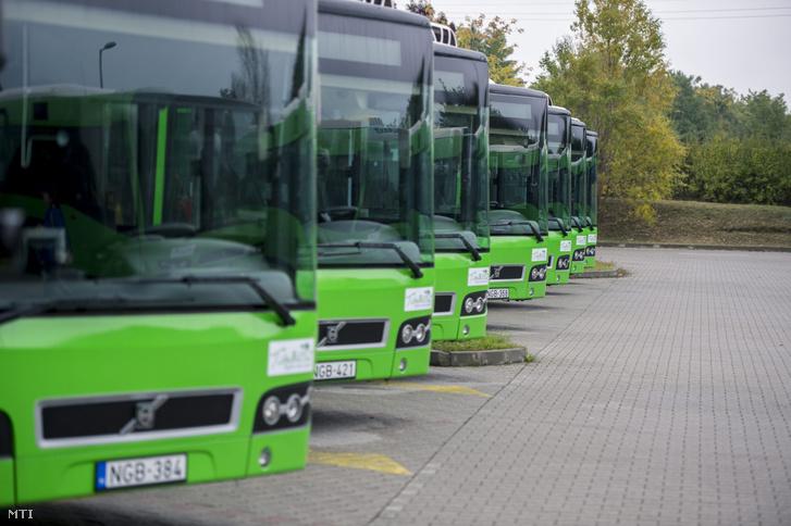 Új, Volvo gyártmányú buszok a pécsi kertvárosi buszpályaudvaron 2015. október 16-án. Az MTI akkori híre szerint városi tulajdonú Tüke Busz Zrt. közbeszerzés keretében 115 darab alacsonypadlós buszt vásárolt, köztük 38 csuklós járművet, amelyekből tizennyolc buszt állítottak ezen a napon forgalomba