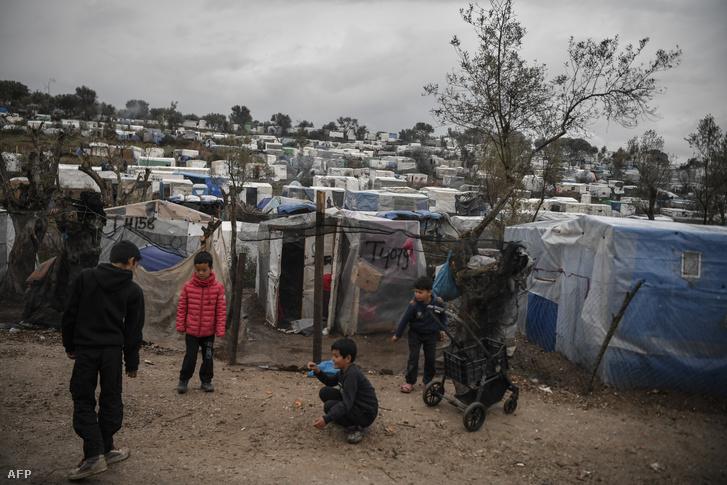 A Moria menekülttábor Leszbosz szigetén 2020. március 5-én