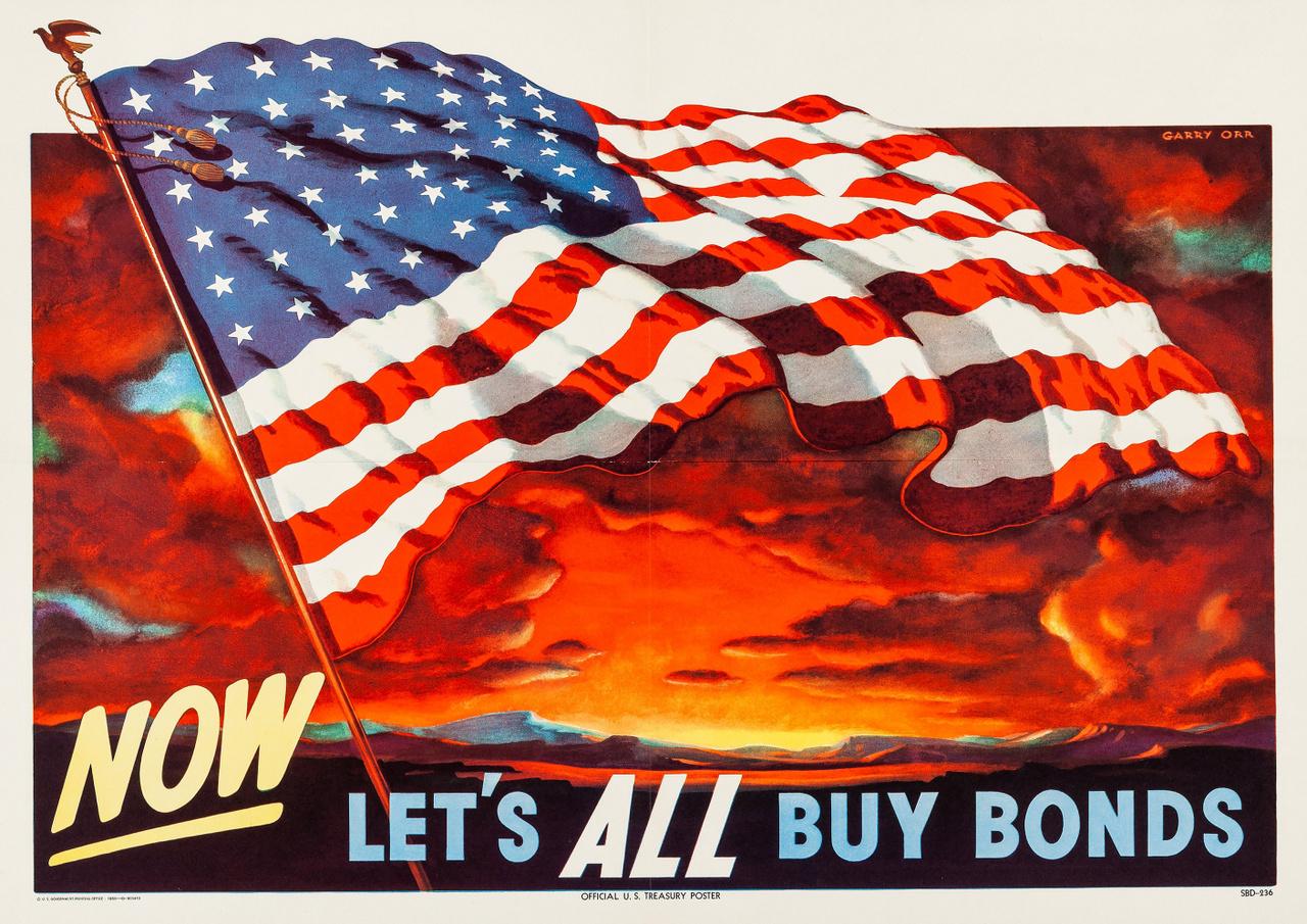 """""""Gyerünk, most vegyük mindannyian kötvényt"""". Garry Orr 1950-es plakátja nem tűnik nagyon vérmes háborús propagandának, de az Egyesült Államok kincstára a II. világháború vége után öt évvel meglehetősen üresen kongott, az államadósság is az egekben volt még (legalábbis a békeidőkhöz képest mindenképp), így az új háborús konfliktus miatt muszáj volt hazafias üzenetekkel a lakosságot állampapírok vásárlására ösztönözni, hogy a költségvetés egyensúlyban maradhasson."""