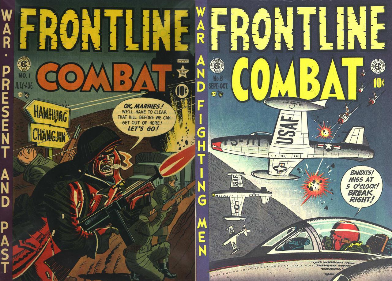 """A """"Bevetés a fronton"""" képregénysorozat két borítója, a bal oldali, 1951-es nyári szám a tengerészgyalogság ütközeteibe nyújt bepillantást, a jobb oldali, 1952-es őszi szám a fentebb már említett MiG-folyosó légi párharcait mutatja be."""
