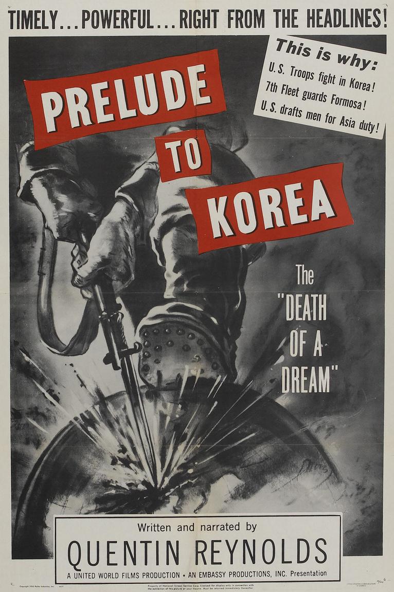 """Egy 1950-es amerikai """"dokumentumfilm"""" arról, hogy mi vezetett a háborúhoz, miért van szükség amerikai katonák bevetésére az ázsiai országban. A földgömbre tapos, szuronyt belevágó arctalan katona a világot fenyegető kommunizmus szimbóluma."""