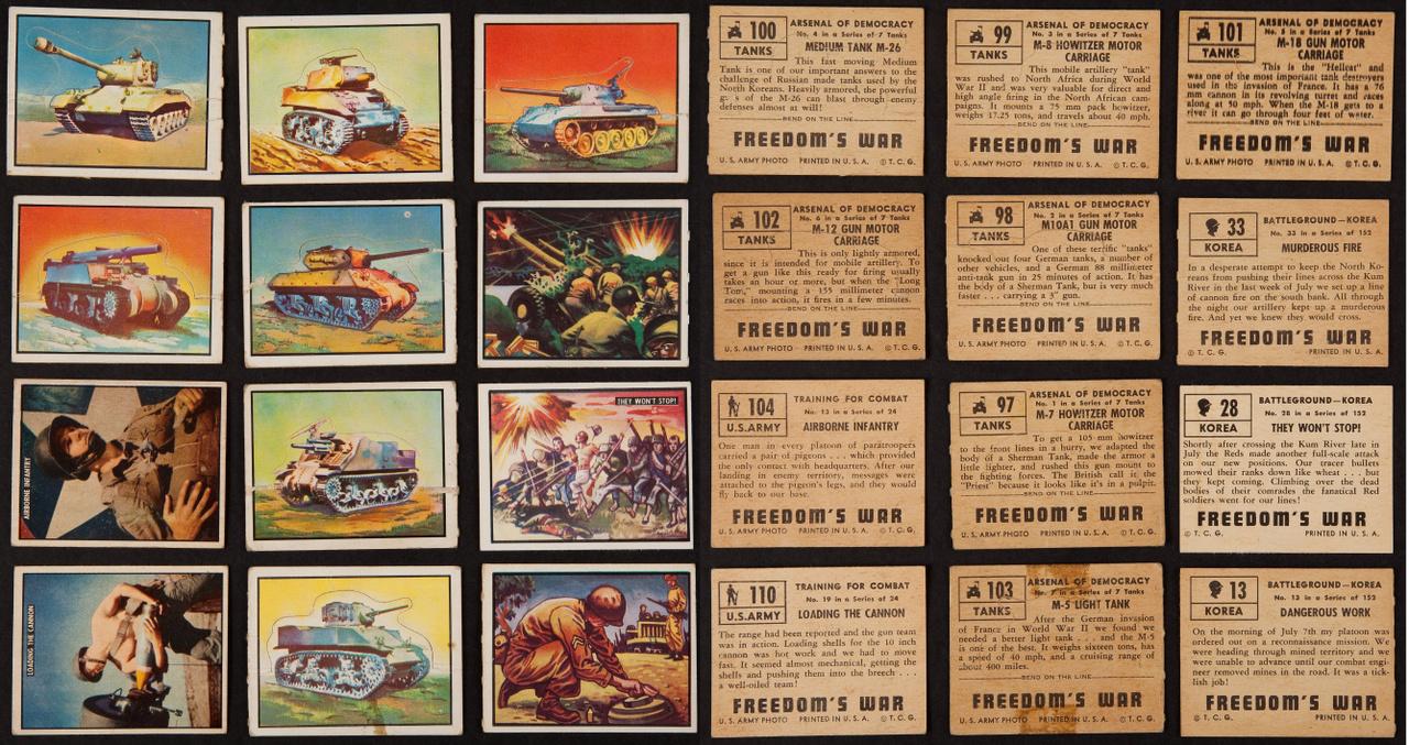 """A legkisebbek sem maradtak ki az amerikai háborús propagandából. A Topps az egyik legismertebb márka a gyerekek számára gyártott, gyűjthető kártyák világában, a cég 1950-es szettje a """"Szabadságharc"""" cím alatt mutatja be a koreai háború egyes mozzanatait, az amerikai fegyvereket, katonákat."""
