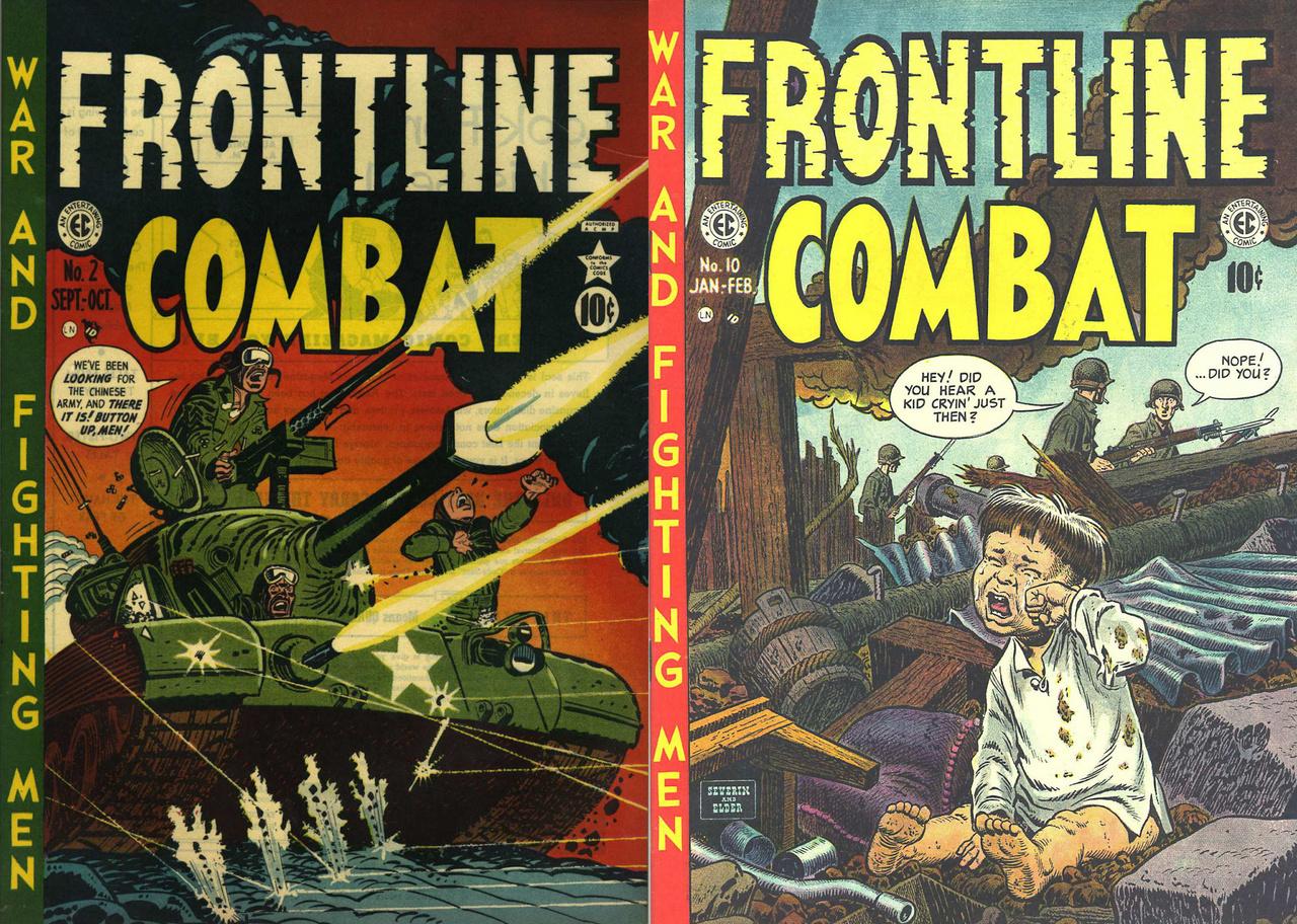 """Az EC Comics másik sorozata, a """"Bevetés a fronton"""" két borítója, amik mintha az otthoni közhangulat változásáról mesélnek. A bal oldali 1951-ből lendületes amerikai előretörést mutat be, míg a jobb oldali, 1953-as kiadvány észak-koreai romok közt bóklászó amerikai katonákat ábrázol, akik szenvtelenül menetelnek tovább, miközben nem messze tőlük egy elárvult koreai kisgyerek hangosan sír."""
