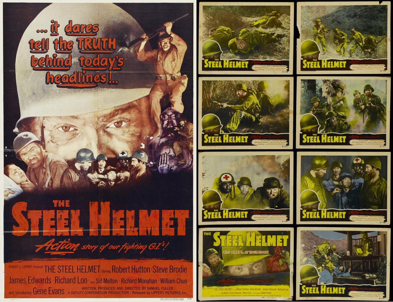 A Lippert Pictures 1951-es filmje, az Acélsisak azon ritka kivételek közé tartozott, amik nem feltétlenül a hivatalos amerikai propaganda szája íze szerint tálalták a koreai háború eseményeit. Samuel Fuller alacsony költségvetésű háborúellenes filmje egyes kritikusok szerint sikeresen túllépett a romantikus közhelyeken és be tudta mutatni a koreai konfliktus igazi borzalmait, ezért a valaha készült egyik legjobb háborús mozinak tekinthető.