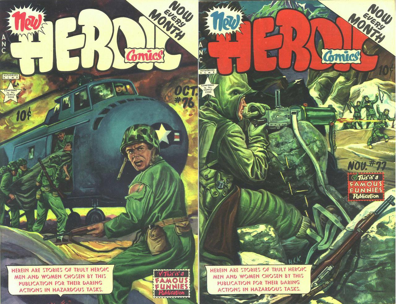 A Famous Funnies eredetileg könnyed szórakozással szolgáló képregénykiadó is csatasorba állt a Heroic Comics című, tízcentes, propagandacélú kiadványaival.