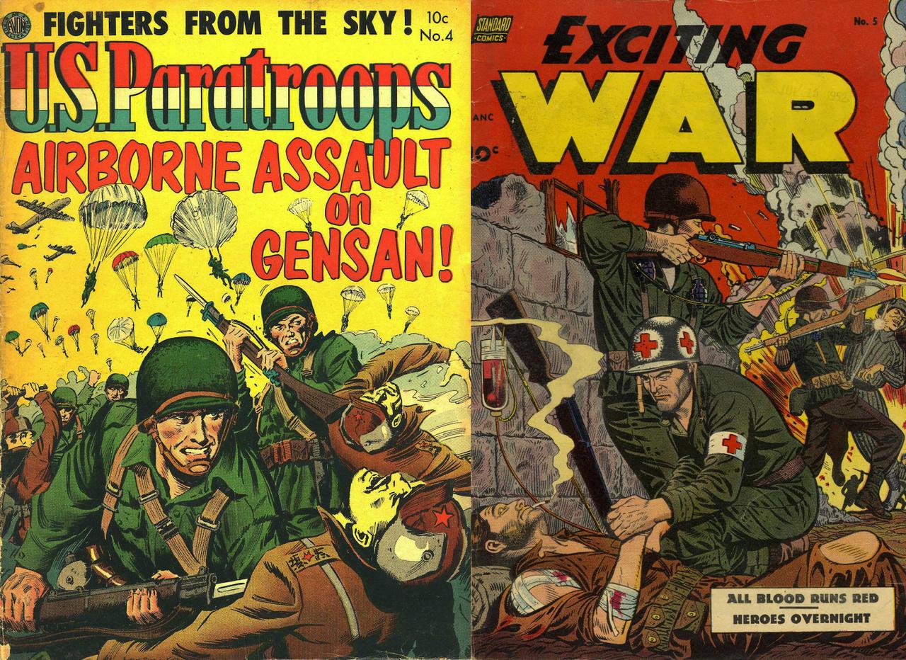 """Az Avon és a Standard Comics címlapjai 1952-ből arról tanúskodnak, hogy a kézitusa legalább olyan fontos volt a koreai ütközetekben, mint a vadászgépek és harckocsiosztályok bevetése. Mindemellett figyeljük meg a bal oldali rajzon a tipikus háborús rasszizmust, hogy a mindenre elszánt amerikai desszantosok sztereotipikusan sárga bőrű koreaikat – a """"sárga veszedelem"""" katonáit – ölnek halomra."""