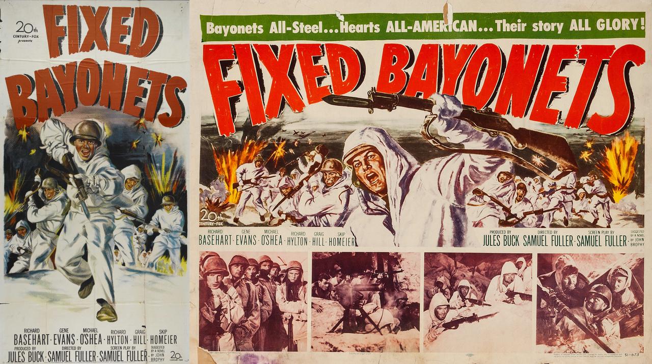 """A képregények mellett természetesen az egész estés mozifilmek is folyamatosan közvetítették az amerikai hivatalos propagandát. 20th Century Fox 1951-es háborús kalandfilmje, a Samuel Fuller rendezte """"Szuronyt szegezz"""" is a koreai háború eseményeit dolgozta föl, a fő hangsúlyt természetesen a dicsőséges (ALL-GLORY!) amerikai (ALL-AMERICAN) katonák acélos helytállására helyezve."""