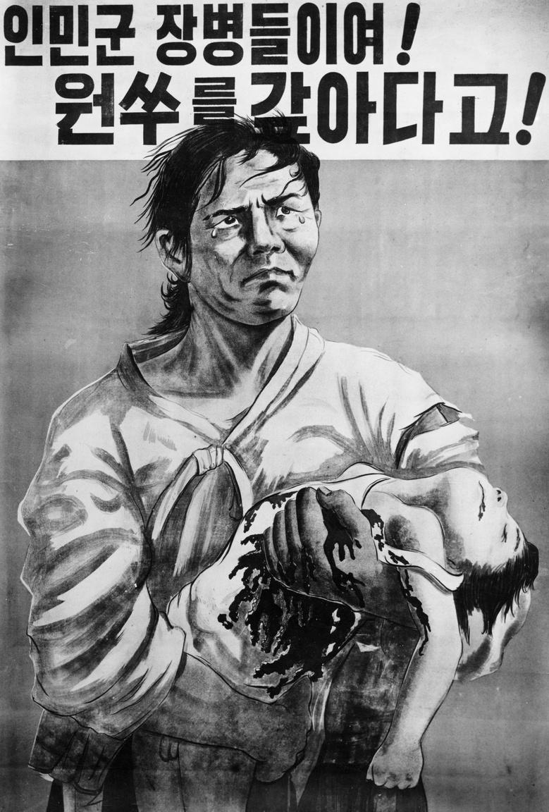 """Halott gyermekét tartó nő a fő alakja ennek az észak-koreai propagandaplakátnak,1950-ből: """"A néphadsereg tisztjeinek és katonáinak bosszúja lesújt ellenségeinkre!"""""""
