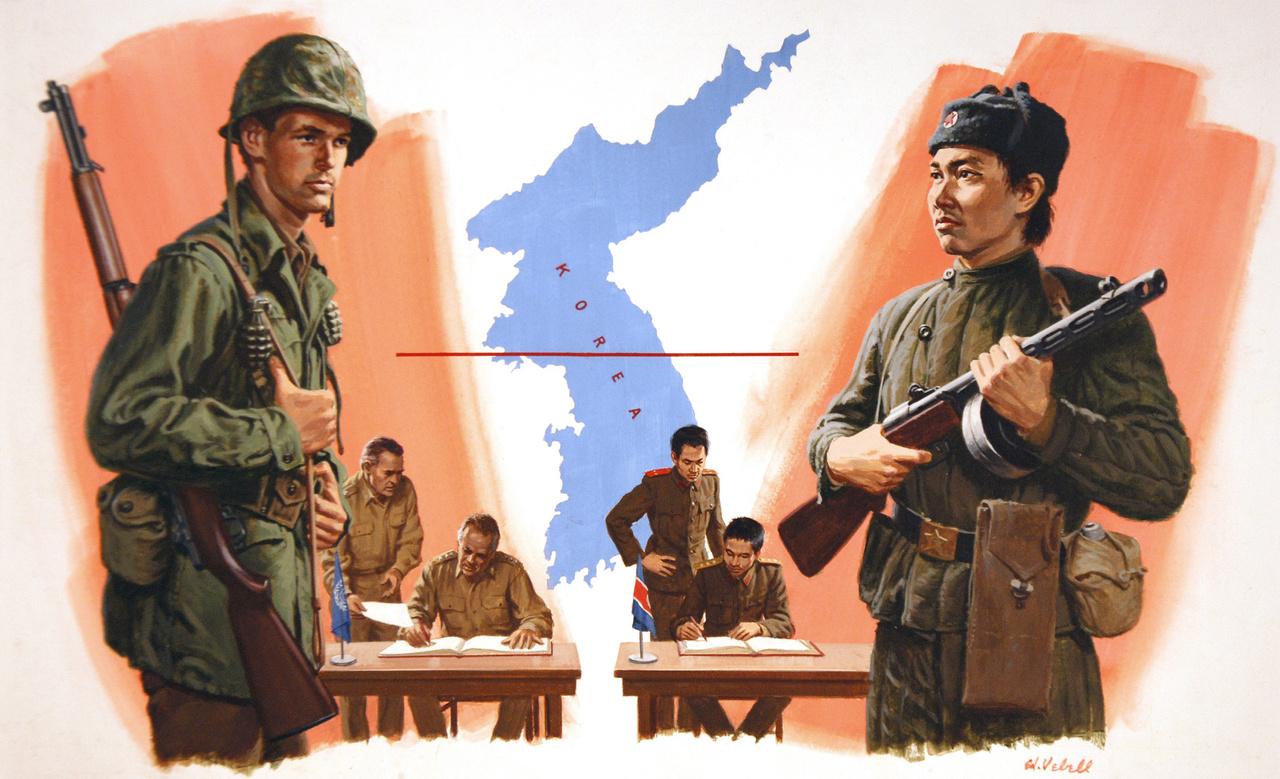 Így jött létre a demilitarizált övezet (DMZ). A háború végét lezáró fegyvernyugvási egyezmény panmindzsoni aláírását ábrázoló amerikai festmény, 1953-ból. Az alkotó Ed Vebell.