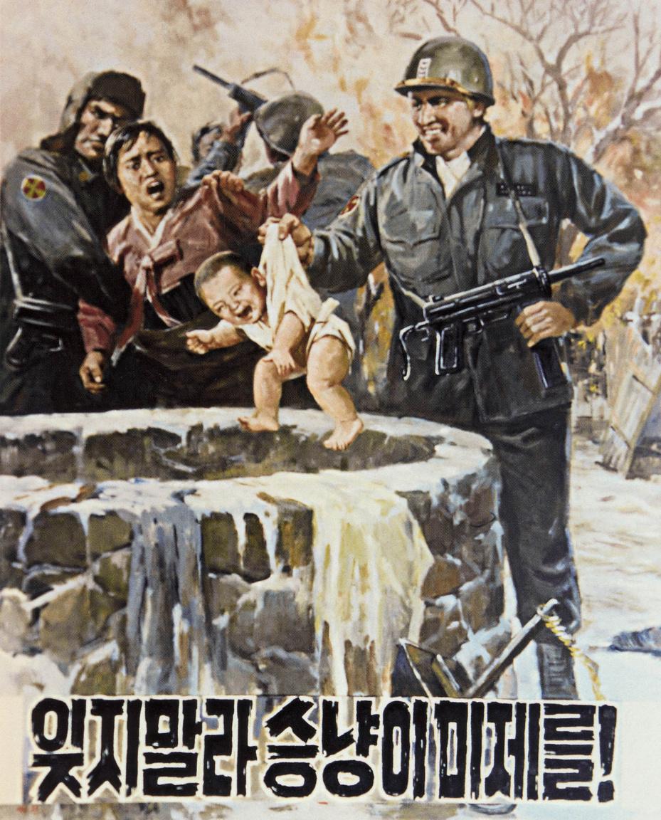 Az észak-koreai civilekkel szemben elkövetett állítólagos amerikai kegyetlenkedéseket szemléltető plakát 1950 körülről.
