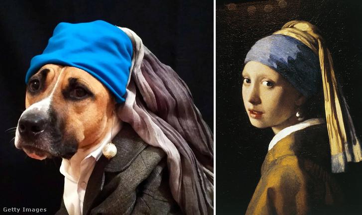 Jobbra a kutyás verzió, balra Johannes Vermeer eredeti alkotása , amit 1665-1666 között készített és a Leány gyöngy fülbevalóval címet viseli