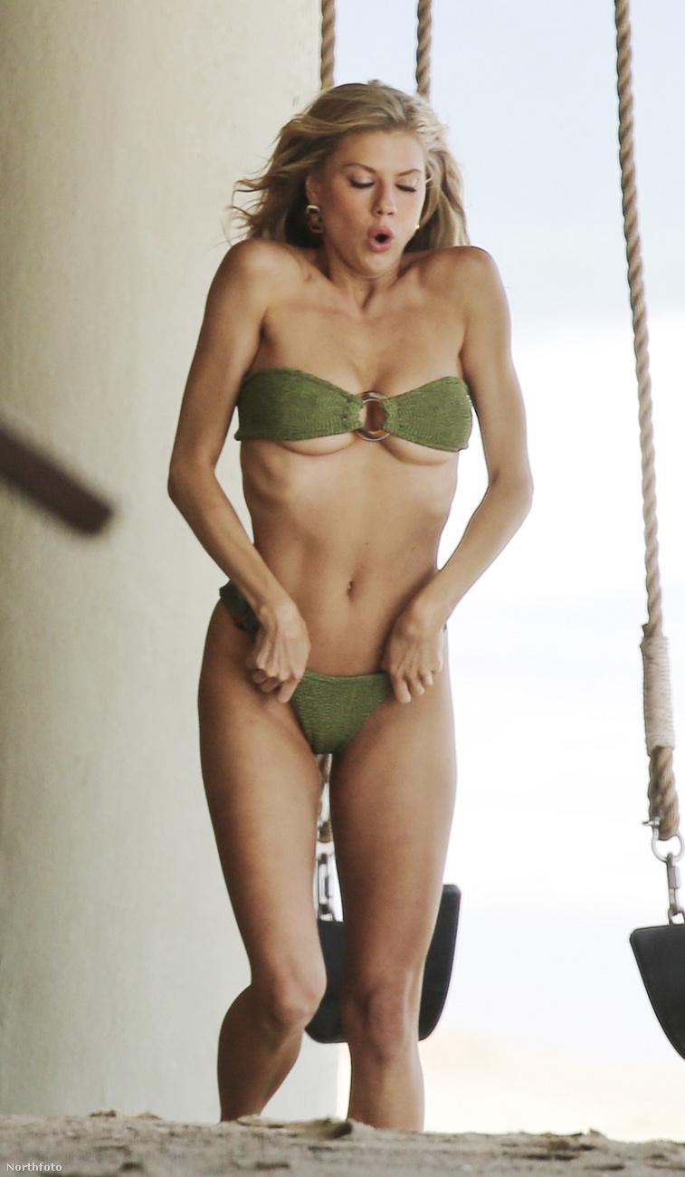 Mintha néhány számmal kisebb lenne ez az olivazöld kétrészes bikini a kelleténél