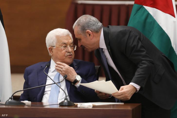 Mahmúd Abbász elnök a palesztin vezetők ülésén Ramallahban 2020. május 19-én