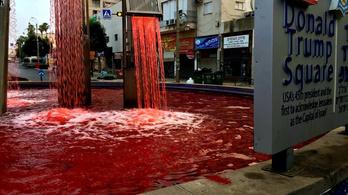Vérvörösre festették tiltakozók egy Trump téri szökőkút vizét Izraelben