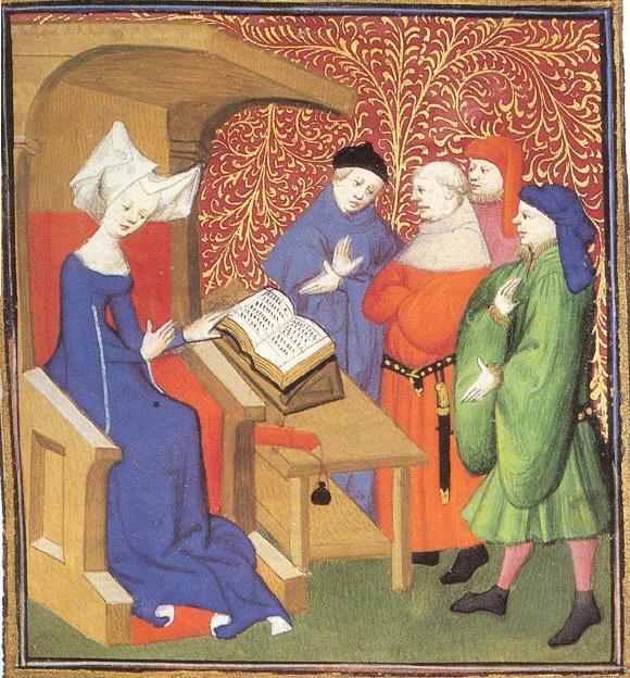 Christine de Pizan gyakran szerepelt illusztrációként a könyveiben. Ezek mindig kézzel készült, míves darabok voltak, hiszen a nyomtatás még nem létezett. A képen épp órát ad, mint látható, férfiaknak.