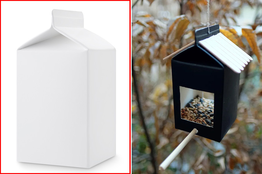 Az első ötlet tejesdobozból készül: remekül kihasználható, hogy a teteje háztetőt formáz.