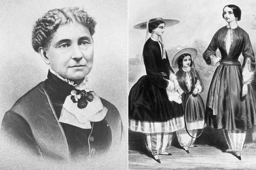Amelia Bloomer és bloomer kosztümöt viselő hölgyek