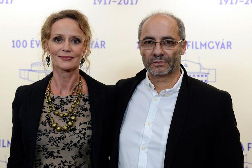 Nagy-Kálózy Eszter és Rudolf Péter a százéves Filmgyár jubileumi ünnepségén a Mafilm Róna utcai telepén 2017 szeptemberében.