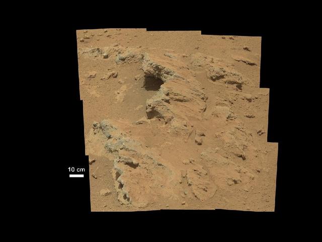Vízmosás alakította ezeket a marsi sziklákat.