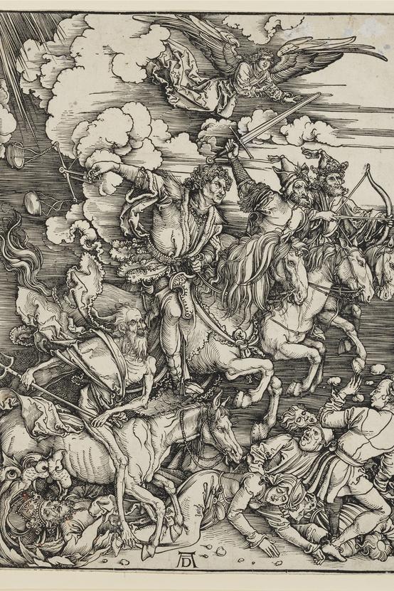 Albrecht Dürer: Az Apokalipszis négy lovasa, 1497-1498 körül, rézmetszet