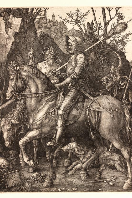 Albrecht Dürer: A lovag, a halál és az ördög, 1513, rézmetszet