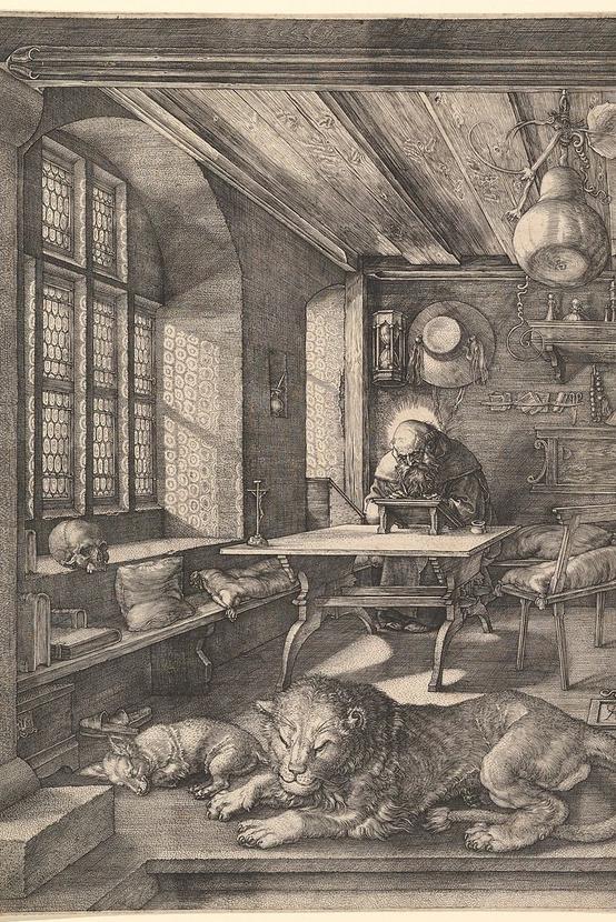 Albrecht Dürer: Szent Jeromos a dolgozószobájában, 1514, rézmetszet