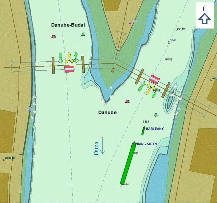 5. ábra: 21:04 a Hableány termes személyhajó és a Viking Sigyn kabinos személyhajó párhuzamosan haladva közelít a hídnyíláshoz (forrás: RSOE Hajóútvonal visszajátszó)