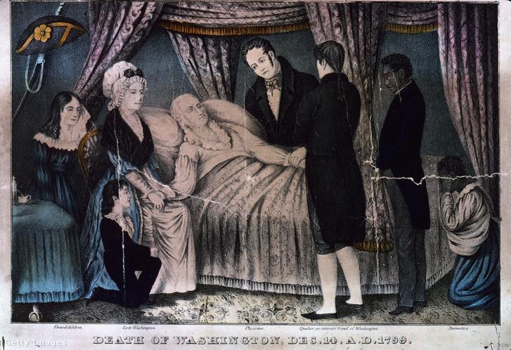George Washington a halálos ágyán. Mellette látható felesége, Martha, valamint barátok és rabszolgák.