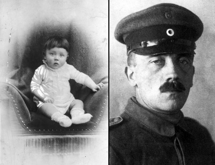 Balra: A kis Adolf 1889-1890 körül. Jobbra: A fiatal Adolf Hitler 1921-ben.