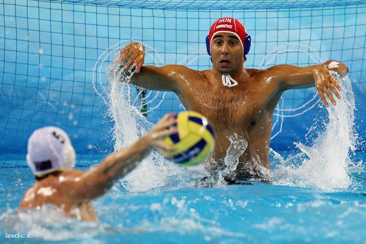 Szécsi Zoltán az Ausztrália ellen 13-12-re megnyert pekingi olimpiai mérkőzésen