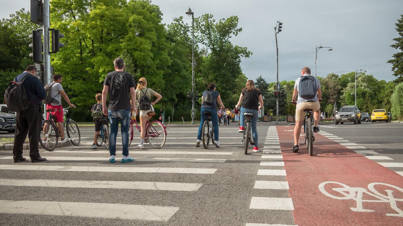 kerékpárosok zebra gyalogos átkelőhely