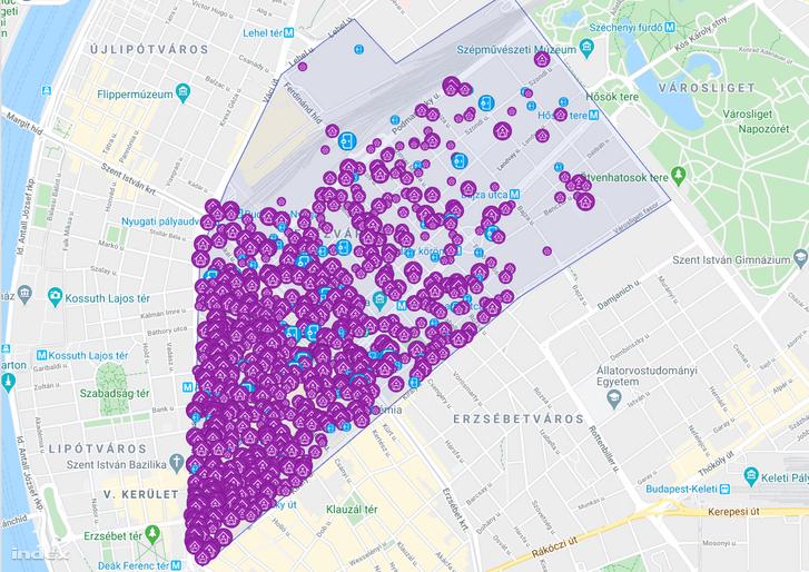 Ezer kiadó airbnb-s lakás megjelenítése a VI. kerületből.