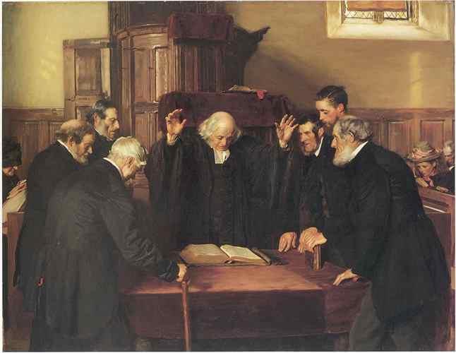 Vének tanácsa a skót presbiteriánus egyházban (John Henry Lorimer, 1891)