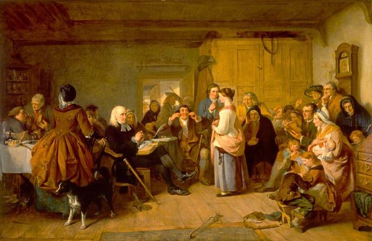 Egy helyi presbiteriánus elöljáró kérdez ki egy lányt az egyházi tanításokról (John Phillip, 1847)
