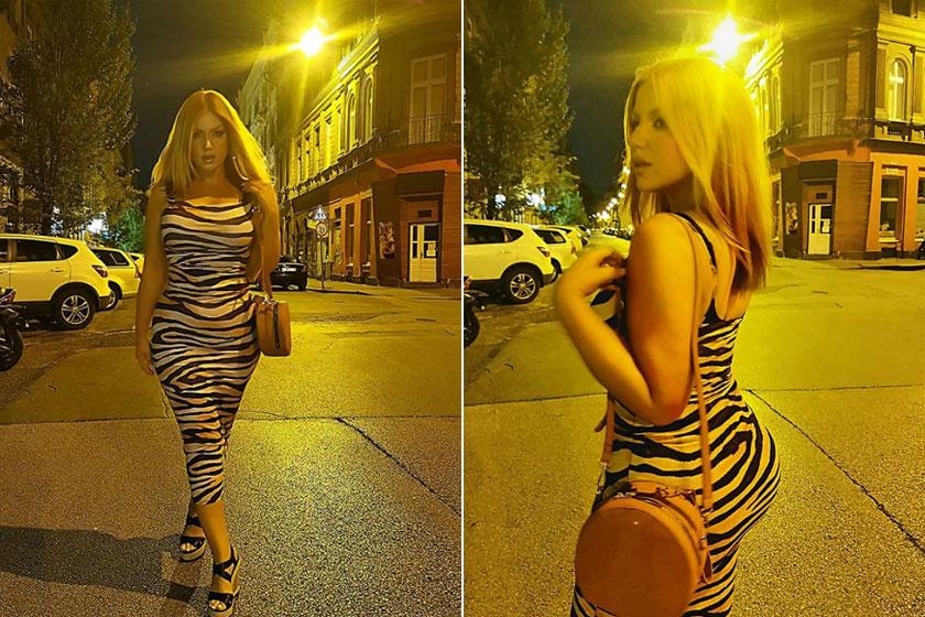 Ebben a dögös, zebramintás darabban pózolt az Instagram-fotóin, a posztok alatt nem győzték dicsérni a külsejét.